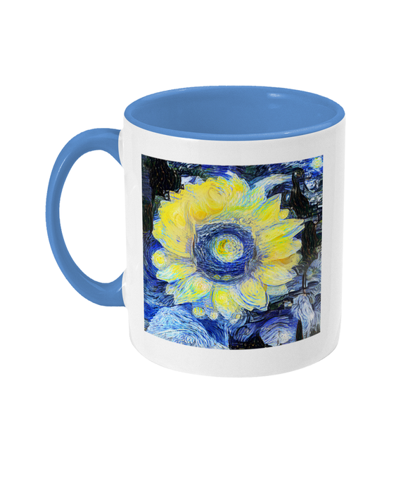 Sunflower Alumni mug with light blue handle