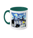 Lady Margaret Hall LMH College Oxford Alumni mug with green handle