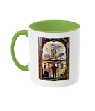 Queens College Oxford Mug with light green handle