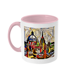 Oxford Spires mug with pink handle