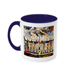 Humanities Oxford College Mug with navy blue handle