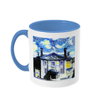 Lady Margaret Hall LMH College Oxford Alumni mug with light blue  handle