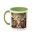 Queens college oxford library mug light green