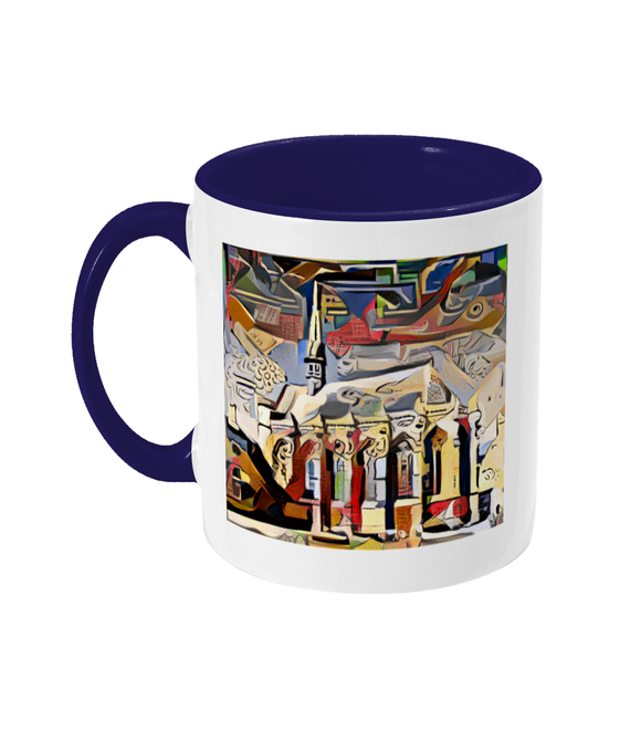 Exeter College Oxford mug with navy handle
