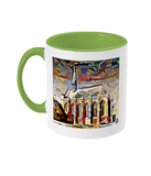 Exeter College Oxford mug with pale green handle
