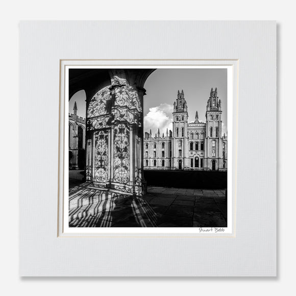 black and white print Oxford all souls college