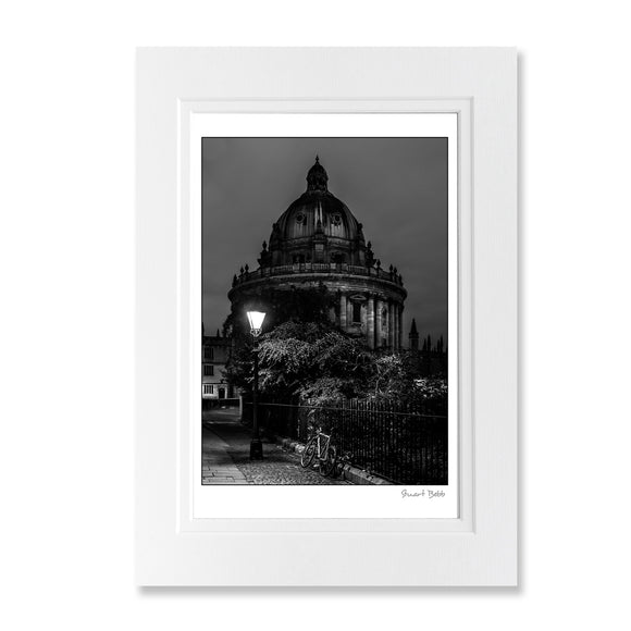 Black and White art print Radcliffe Camera by lamplight
