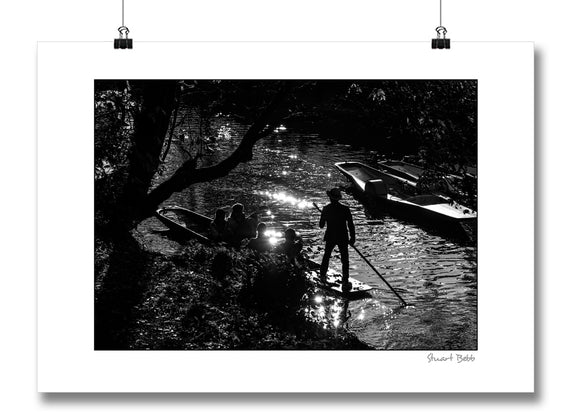 Black and White art print punting in Oxford