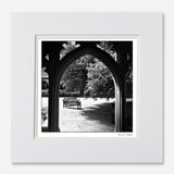 Black and white print New College Oxford garden