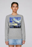 Balliol College Oxford ladies grey organic cotton sweatshirt with art design