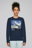 Balliol College Oxford ladies navy organic cotton sweatshirt with art design