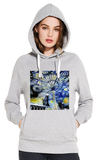 Christ Church College Oxford University women's grey organic cotton hoodie with art design