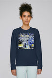 Christ Church College Oxford University women's navy organic cotton sweatshirt with art design