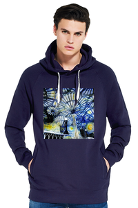 Christ Church College Oxford University men's navy organic cotton hoodie with art design