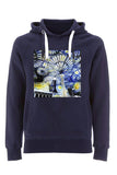 Christ Church College Oxford University unisex navy organic hoodie with art design