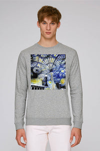 Christ Church College Oxford University men's grey organic cotton sweatshirt with art design