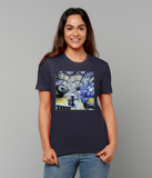 Christ Church College Oxford University women's navy organic cotton t-shirt with art design