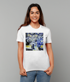 Christ Church College Oxford University women's white organic cotton t-shirt with art design