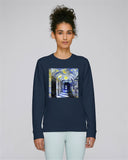 Corpus Christi College Oxford women's navy organic cotton sweatshirt with art design