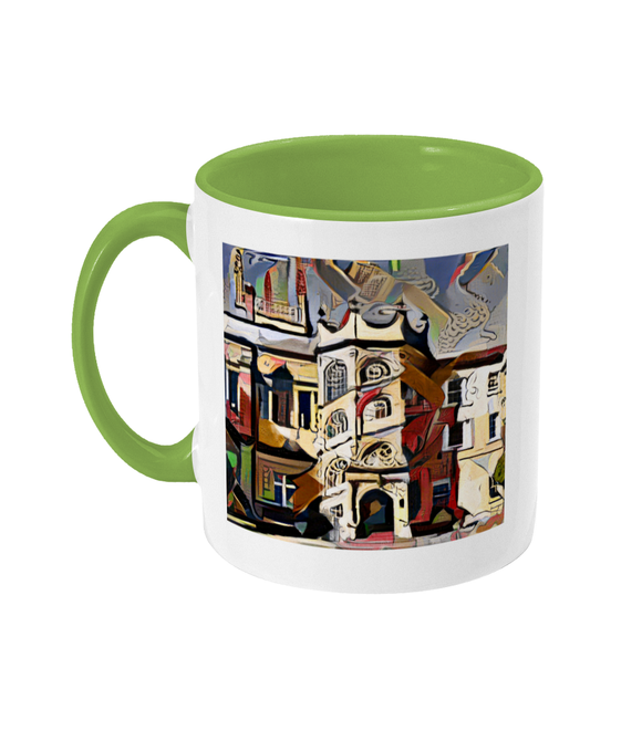 Hertford College Oxford mug with light green handle