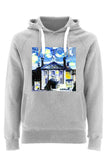 Lady Margaret Hall Oxford University Unisex grey organic cotton hoodie with art design