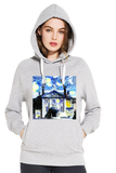 LMH Oxford University women's grey organic cotton hoodie with art design