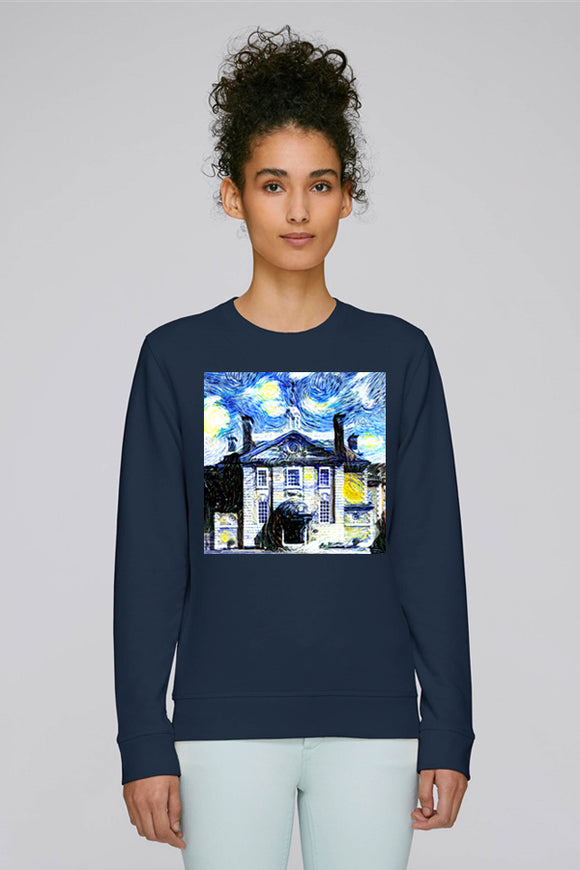 Lady Margaret Hall Oxford University ladies navy organic cotton sweatshirt with art design