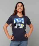 Lady Margaret Hall Oxford University Ladies navy organic cotton t-shirt with art design