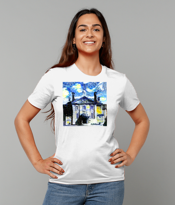 Lady Margaret Hall Oxford University Ladies white organic cotton t-shirt with art design