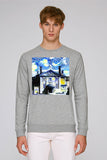 LMH Oxford University men's grey organic cotton sweatshirt with art design