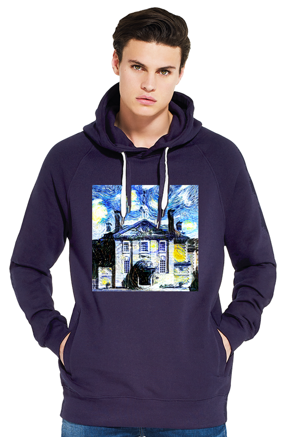 LMH Oxford University men's navy organic cotton hoodie with art design