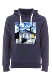 LMH Oxford University unisex navy organic cotton hoodie with art design