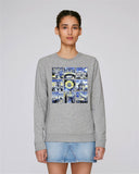 Oxford University women's grey organic cotton sweatshirt with art design