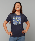 Oxford University Ladies organic cotton navy t-shirt with art design