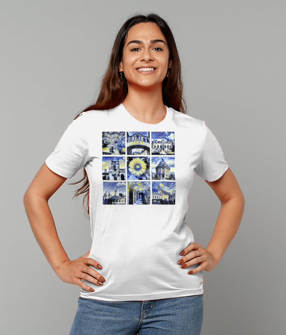 Oxford University Ladies organic white t-shirt with art design
