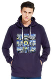 Oxford University men's navy organic cotton hoodie with art design