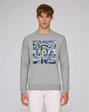 Oxford University men's grey organic cotton sweatshirt with art design
