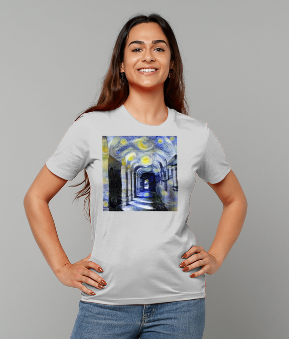 Corpus Christi College Oxford University Ladies grey organic cotton t-shirt with art design