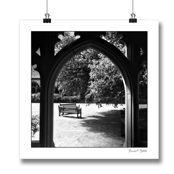 B&W print New College Oxford Cloister