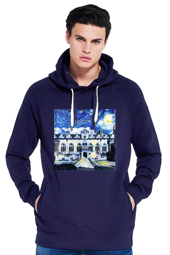 Oriel College Oxford University Men's navy organic cotton hoodie with art design