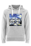 Oriel College Oxford University unisex grey organic cotton hoodie with art design