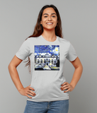 Oriel College Oxford University ladies grey organic cotton t-shirt with art design