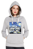 Oriel College Oxford University women's grey organic cotton hoodie with art design