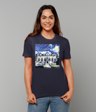 Oriel College Oxford University woman's navy organic cotton t-shirt with art design
