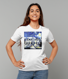 Oriel College Oxford University ladies white organic cotton t-shirt with art design