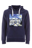 Oriel College Oxford University unisex navy organic cotton hoodie with art design