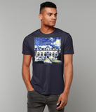 Oriel College Oxford University Men's navy organic cotton t-shirt with art design