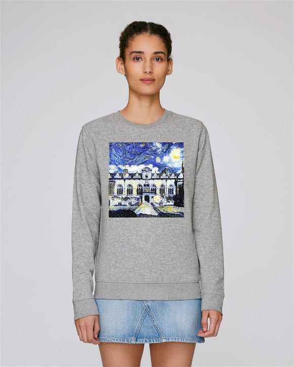 Oriel College Oxford Ladies grey organic cotton sweatshirt with art design