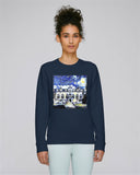 Oriel College Oxford Ladies navy organic cotton sweatshirt with art design