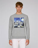 Oriel College Oxford men's grey organic cotton sweatshirt with art design